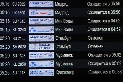 Число задержанных и отменных рейсов в аэропортах Московского региона увеличилось до 35