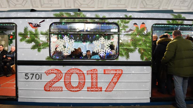Рождественский вагон появился вмосковском метро