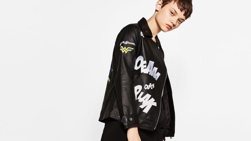 Куртка с вышивкой и заклепками zara