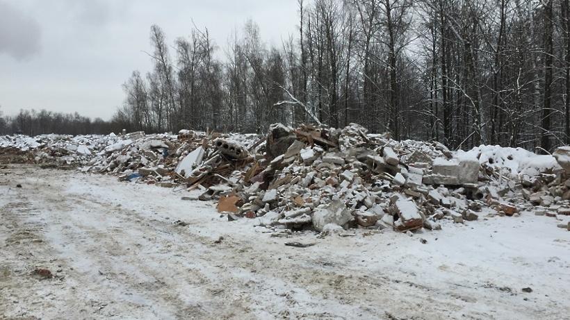 ВЛенинском районе Подмосковья найдена незаконная свалка строительных отходов