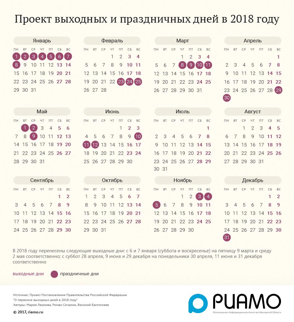 Праздничные дни в марте 2018