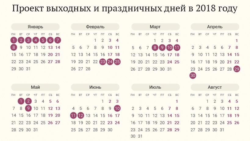 Перенесённые праздники 2018