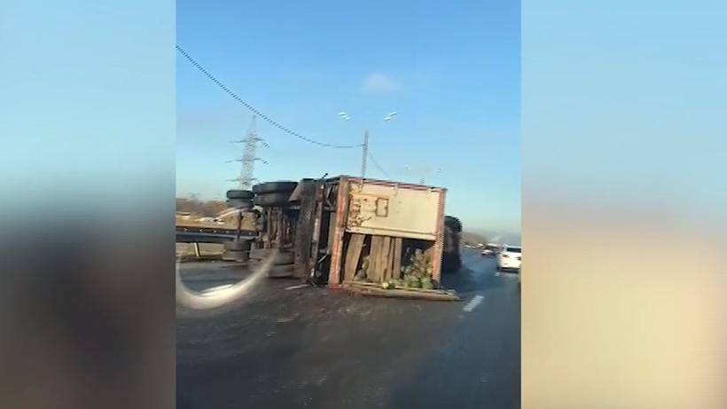 Натрассе М-4 «Дон» вПодмосковье перевернулась фура сарбузами