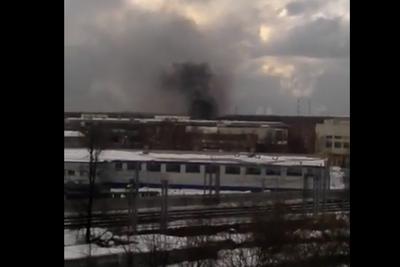 Видео крупного пожара на складе в Мытищах