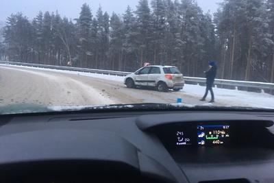 Две иномарки столкнулись на съезде с Объездной дороги в Подольске