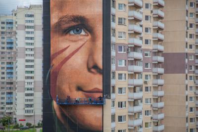 Самое большое в России граффити с Юрием Гагариным нарисовали в Одинцове